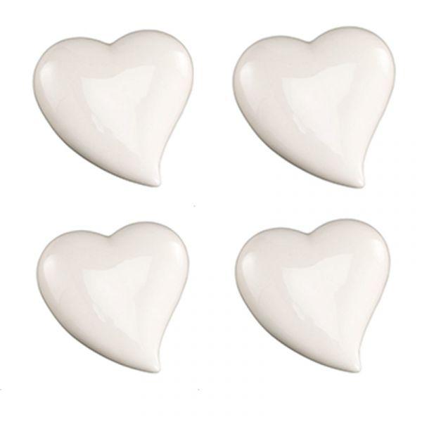 Herz 7cm Weiß glänzend Keramik 4er Pack bei Tischdeko-Shop.de
