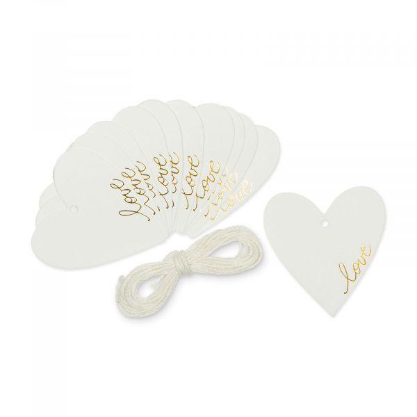 Papier-Anhänger Herz Love Weiß Gold 12er-Set 5,5cm bei Tischdeko-Shop.de