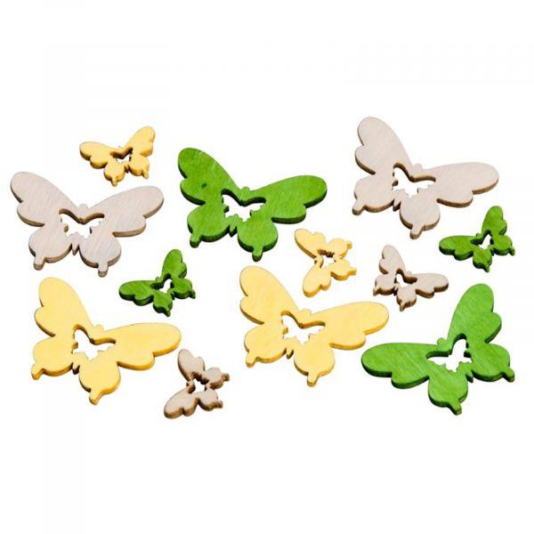 Streudeko Schmetterling Holz Grün/Gelb 18 Stück 2-4cm