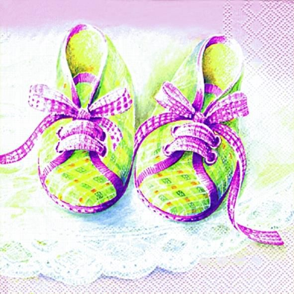 Serviette Baby Shoes rose 33x33cm 20er Pack