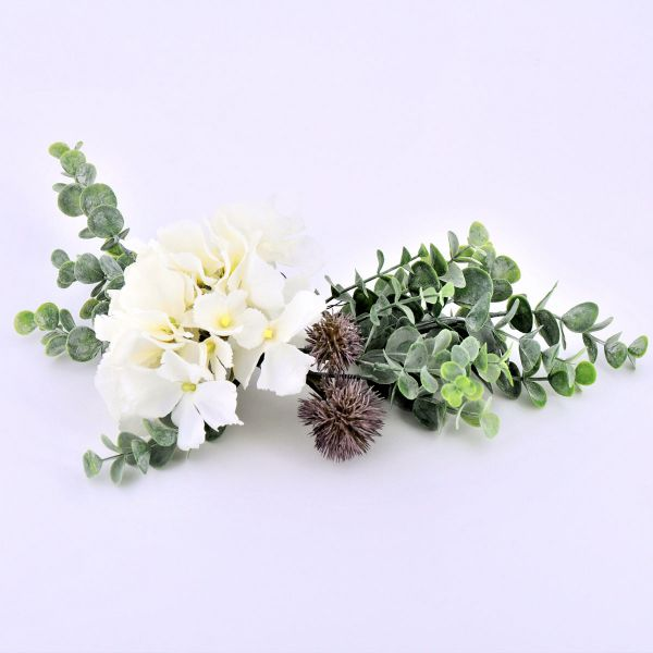 Seidenblumen-Gesteck Hortensie Eukalyptus Distel 34cm bei Tischdeko-Shop.de