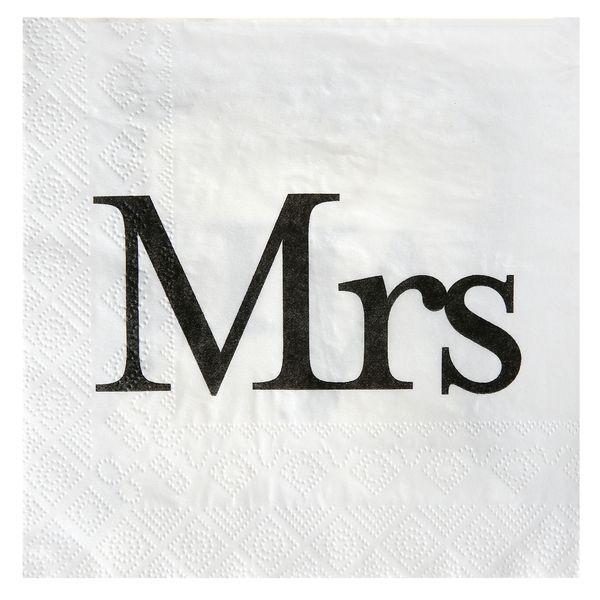 Servietten Mrs. Weiß 33x33cm 20 er Pack Hochzeit