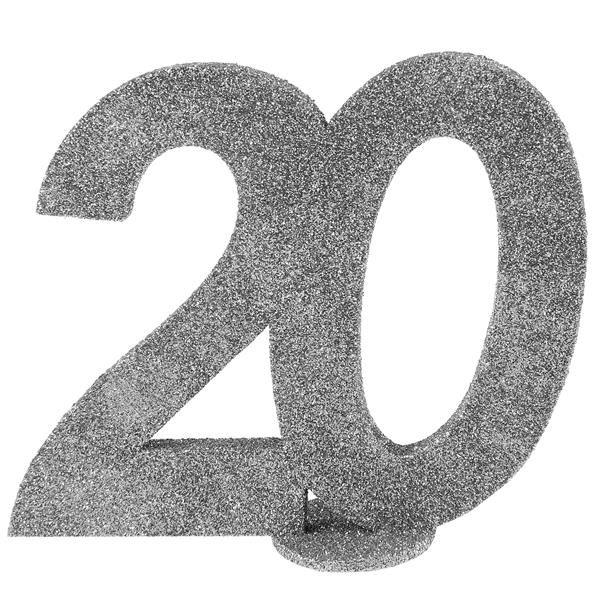 Jubiläums -Zahl 20 Silber Glitter Aufsteller bei Tischdeko-Shop.de