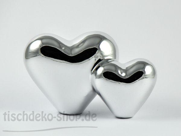 Herz doppelt Porzellan silber 13x7x8cm