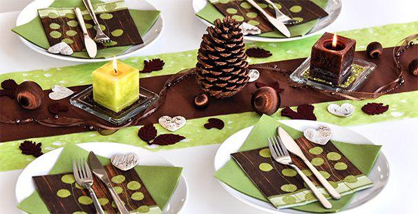 Tischdeko winter grün  Tischdekoration in der Farbe Braun kaufen