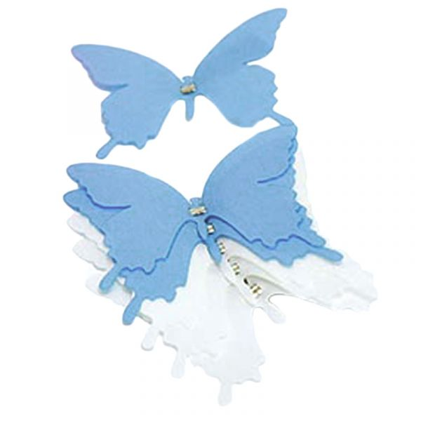 Schmetterlinge mit Clip Blau / Weiß 6 Stk bei Tischdeko-Shop.de