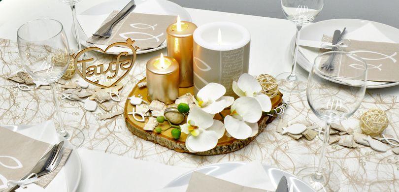 Tischdekoration Zur Taufe In Greige Und Pearl Mit Taufe Herz