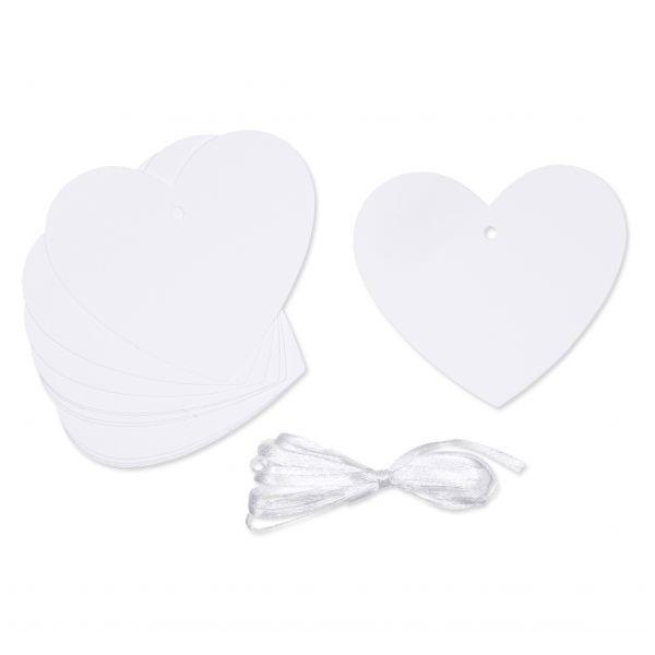 Herz-Kärtchen Weiß 12er Set 8x7cm
