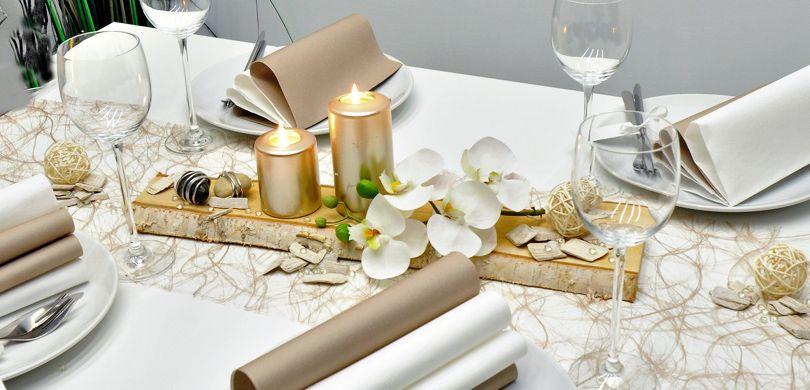 Moderne Tischdeko In Greige Und Pearl Mit Birke Und Hochglanzenden