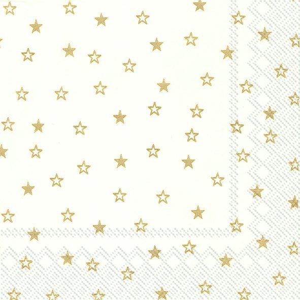 Serviette Little Stars Weiß Gold 33x33cm 20er Pack bei Tischdeko-Shop.de