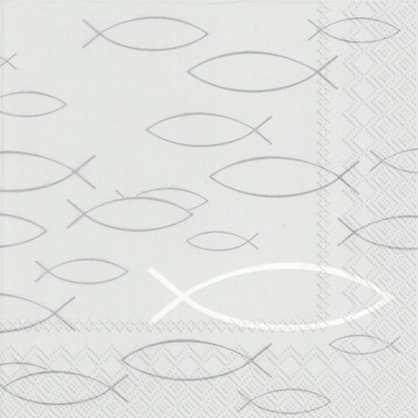 Servietten Peaceful Fish Grey 33x33cm 20er