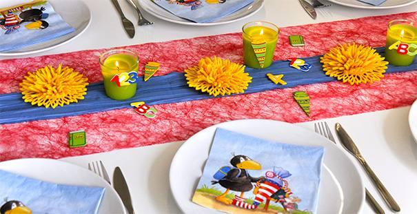 Tischdeko zur einschulung abc sch tzen for Einschulungsfeier deko