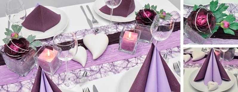 Tischdeko zur Hochzeit in Aubergine und Flieder