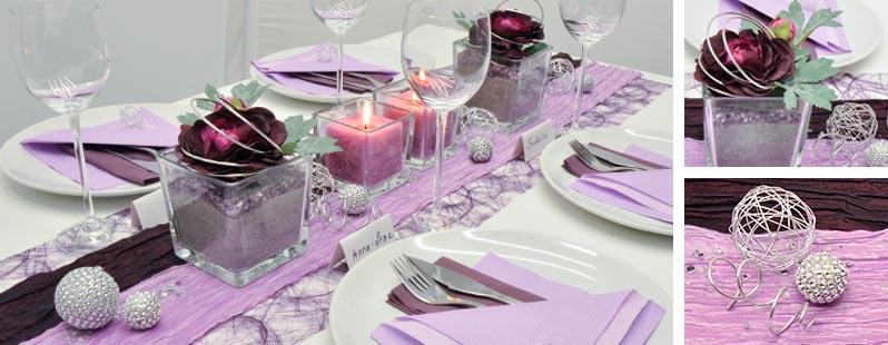 Tischdeko in Aubergine und Flieder
