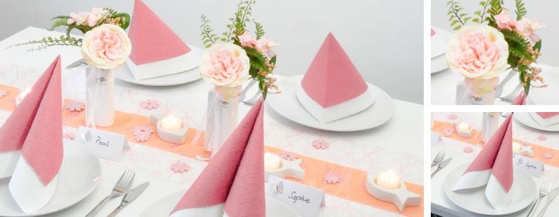 Tischdekoration Rosa kombiniert mit Apricot, Teelichthaltern Fisch und ...