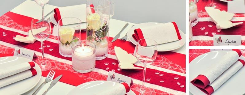 Tischdekoration zur Hochzeit in Rot und Weiß mit Zylindervasen und ...