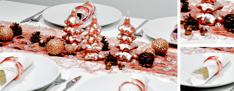 Festliche weihnachtliche tischdekoration in kupfer bei for Tischdeko shop