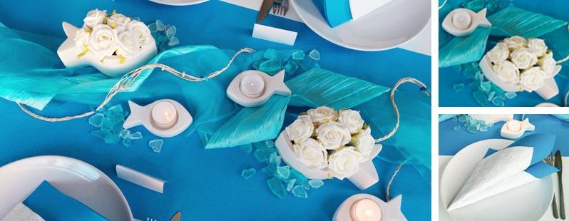Tischdekoration zur Kommunion / Konfirmation in Türkis mit Fischen
