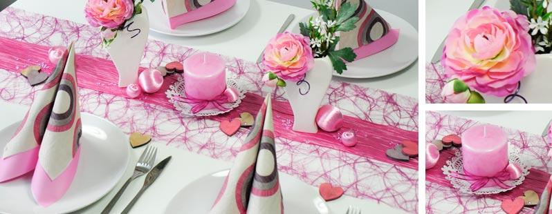 Tischdekoration in den Farben Erika kombinert mit Himbeere / Rosa