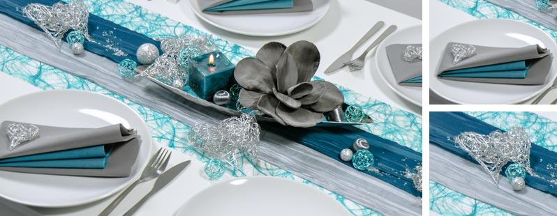 Tischdekoration in Petrol mit Silberherzen aus Drahtgeflecht