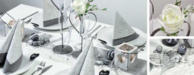Tischdekoration in Silbergrau mit Spitzentischband im Vintagelook