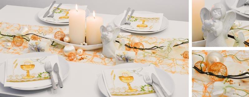Tischdeko zur Kommunion / Konfirmation in zartem Orange und Creme