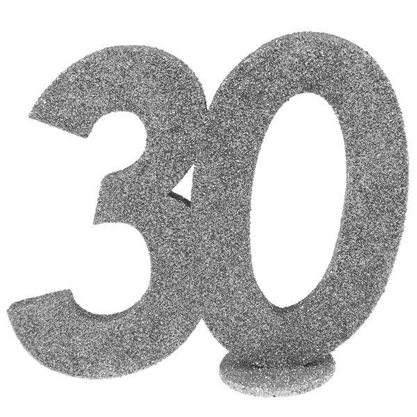 Jubiläums - Zahl 30 Silber Glitter Aufsteller