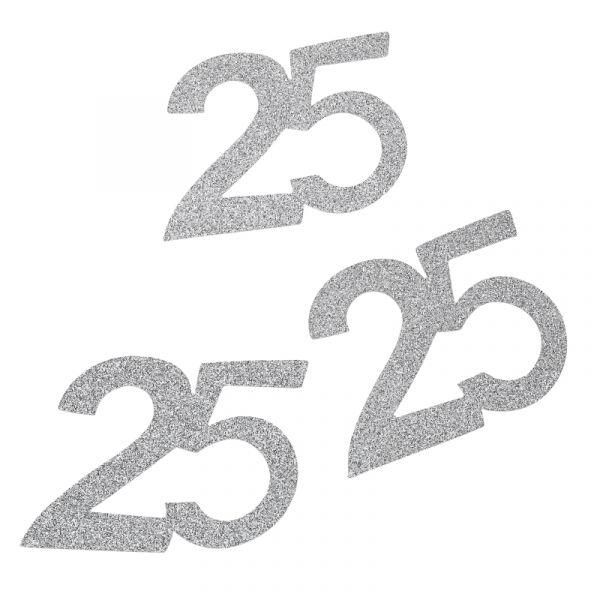 Jubiläumszahl 25 Silber Glitter 6cm 10 Stück bei Tischdeko-Shop.de
