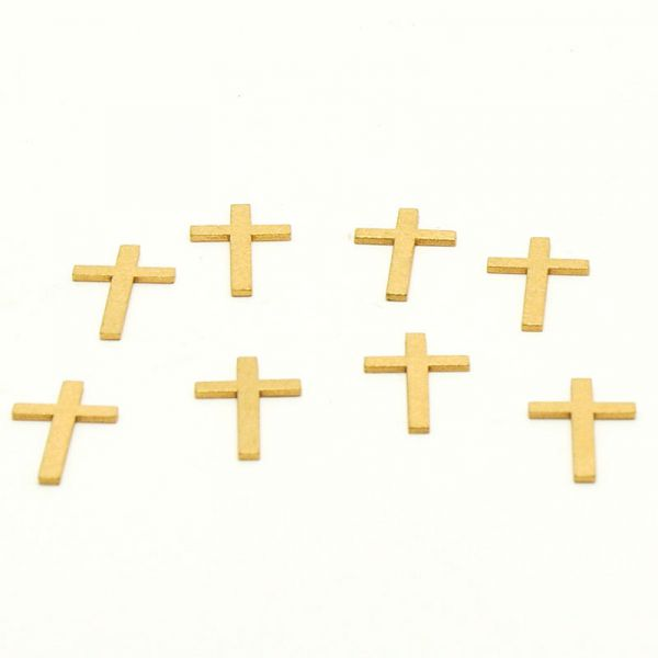 Streudeko Kreuz Gold Holz ca. 4cm 8 Stück