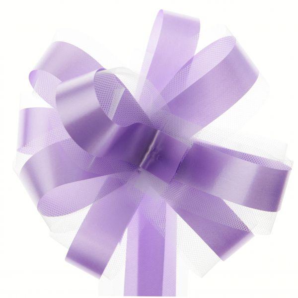 Automatik-Schleifen Violett aus Satin und Tüll im 5er Set