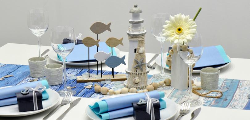 tischdekoration leuchtturm t rkis blau kaufen tischdeko shop. Black Bedroom Furniture Sets. Home Design Ideas