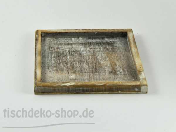 Holz-Teller 10 x 10 x 1,3cm weiß gewaschen