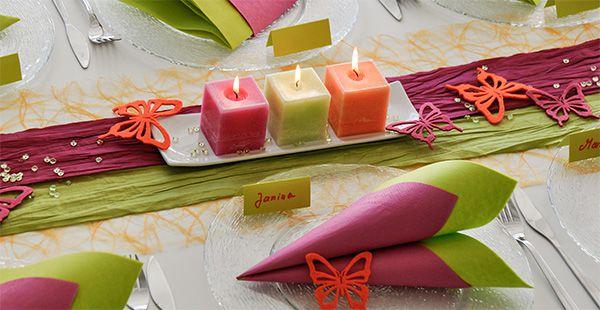 Tischdekoration In Orange Pink Grun Kaufen Tischdeko Shop