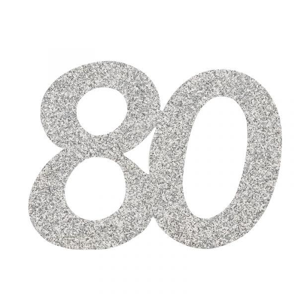 Jubiläumszahl 80 Silber Glitter 6cm 10 Stück bei Tischdeko-shop.de