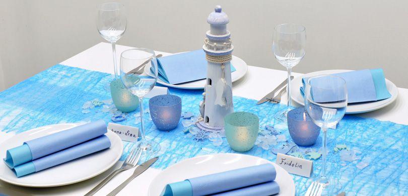 Tischdekoration in der Farbe Türkis kaufen