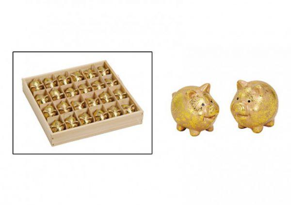 Glücksschweine aus Ton Gold 24er Vorteilspack bei Tischdeko-Shop.de