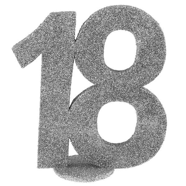 Jubiläums - Zahl 18 Silber Glitter Aufsteller