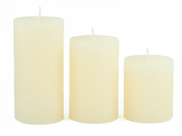 Stumpenkerze Wollweiß Rustic D70mm safe candle