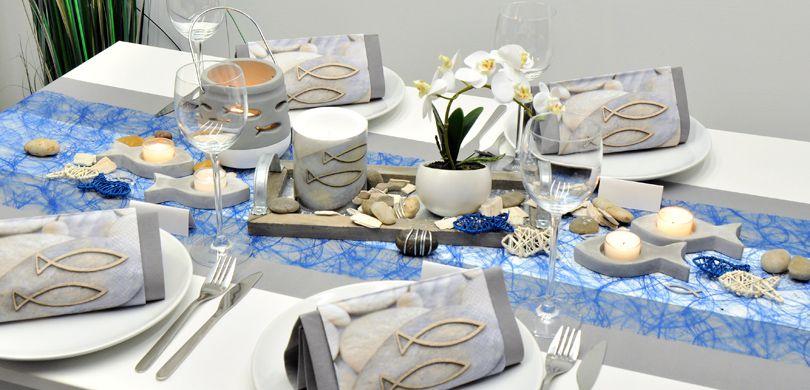 Tischdekoration In Grau Blau Mit Fisch Kaufen Tischdeko Shop