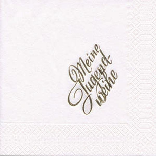 Servietten Weiß mit Gold-Prägung Jugendweihe 33x33cm 10 Stück bei Tischdeko-Shop.de
