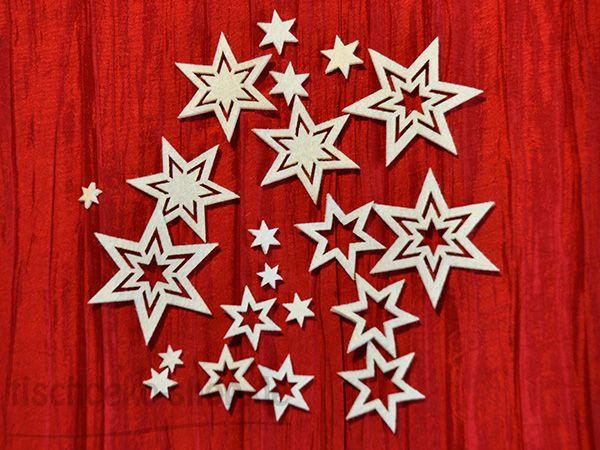 Streudeko-Sterne Filz weiß 6 fach sort.