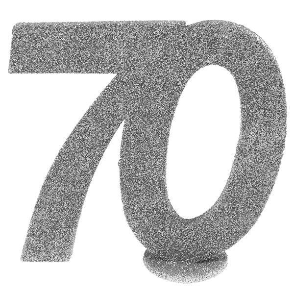 Jubiläums - Zahl 70 Silber Glitter Aufsteller