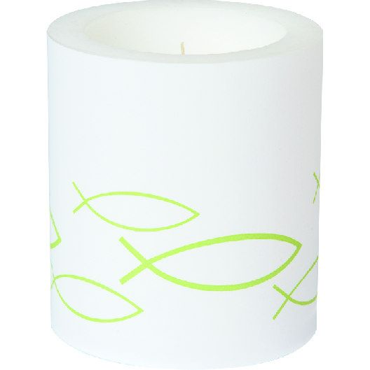 Kerze Peaceful Fisch Kommunion / Konfirmation D 9x 10.5 cm