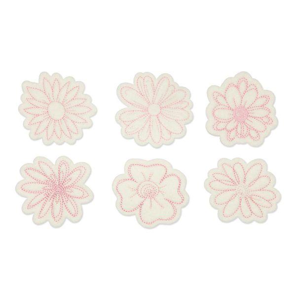 Filz Blumen D ca. 8cm 6 Stück Weiß Rosa