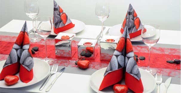 Tischdekoration In Rot Grau Silber Tischdeko Shop