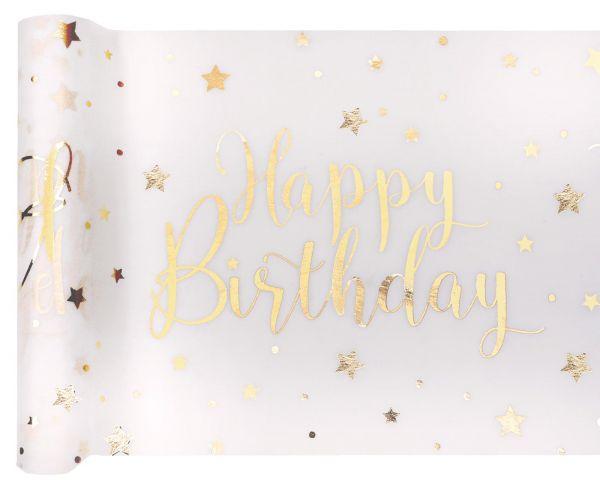 Tischläufer Happy Birthday Weiß-Gold Vlies 30cm x 5m bei Tischdeko-Shop.de