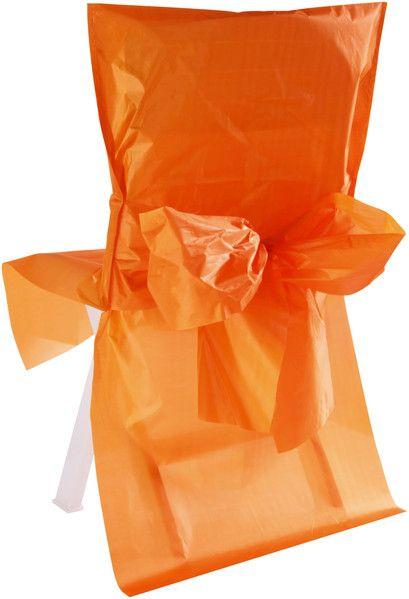 Stuhlhussen Satin mit Schleife Orange 10er Set bei Tischdeko-Shop.de