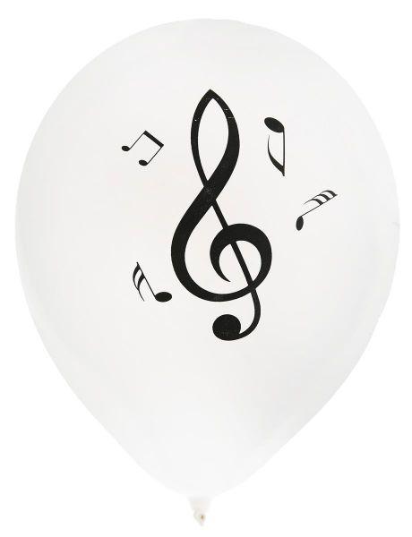 Luft-Ballons weiß mit Noten 8 Stück bei Tischdeko-Shop.de