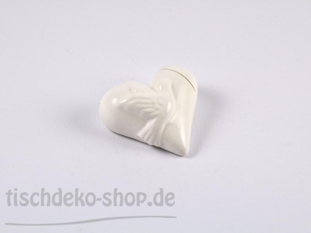 Kartenhalter porzellan herz mit taubenmotiv wei 6er set for Tischdeko shop