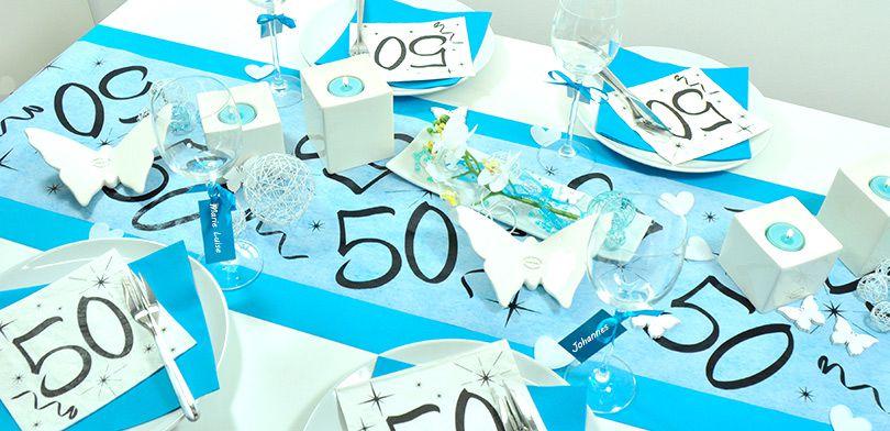 Tischdekoration Zum 50 Geburtstag In Turkis